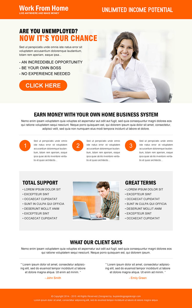 work from home clean responsive landing page design template