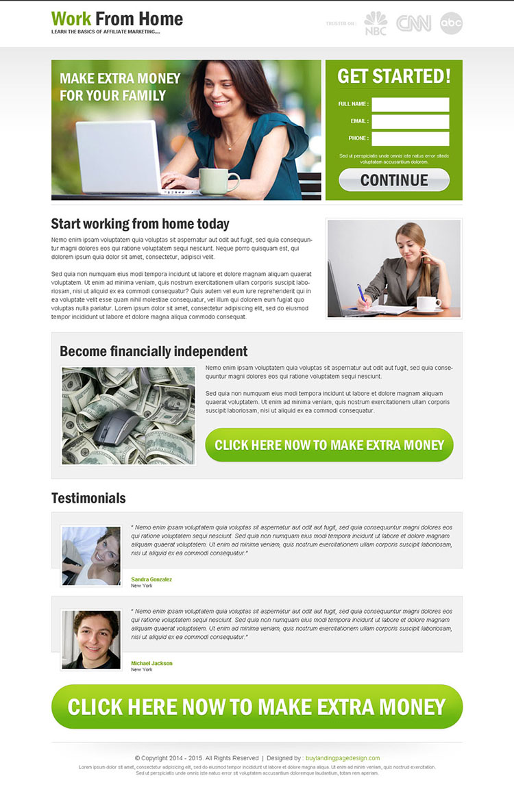 work from home to earn extra money lead capture responsive and converting landing page design template