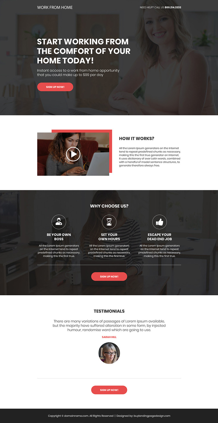 work from home opportunity sign up capturing bootstrap landing page