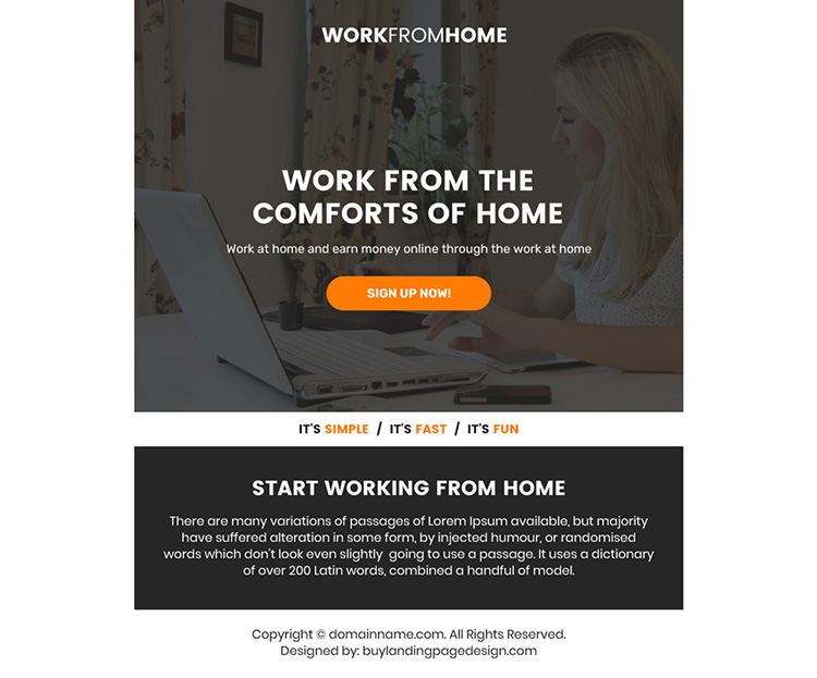 work from home sign up capturing ppv landing page