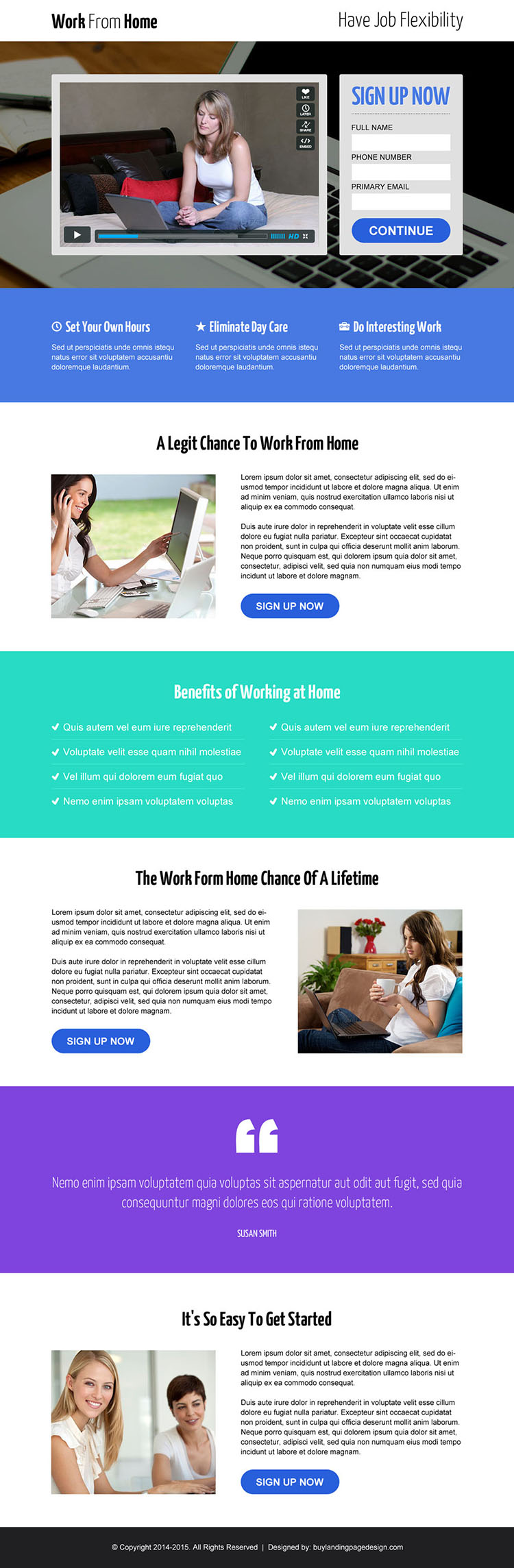 work from home video lead capture responsive landing page design template