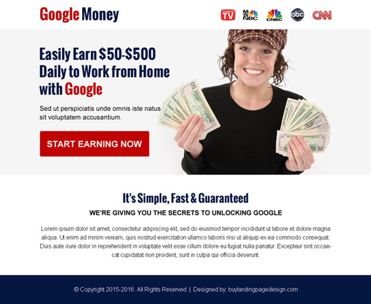 work with google money online ppv landing page