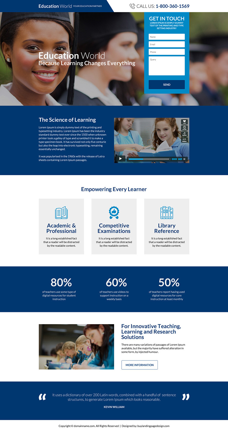 professional and responsive education consultants landing page design