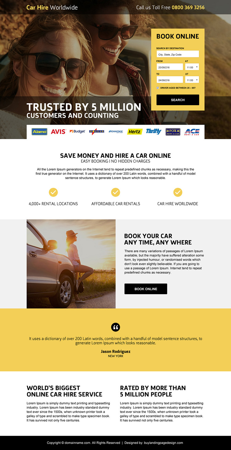 car hire searching responsive landing page design