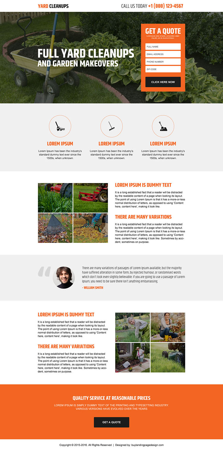 yard cleaning lead generating landing page design