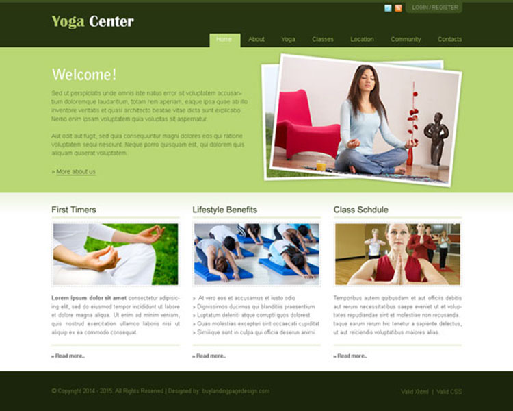 informative and minimalist yoga center website template design psd