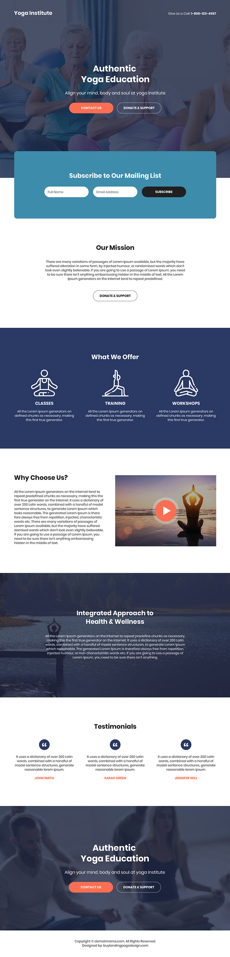 authentic yoga education bootstrap landing page design