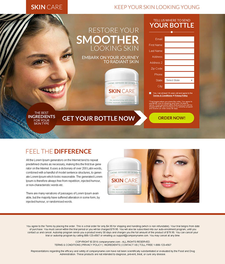 skin care product selling best bank page design