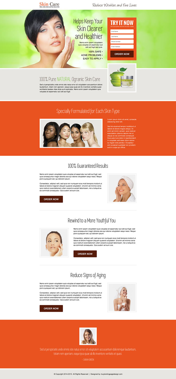 youthful glowing skin care lead capture landing page design