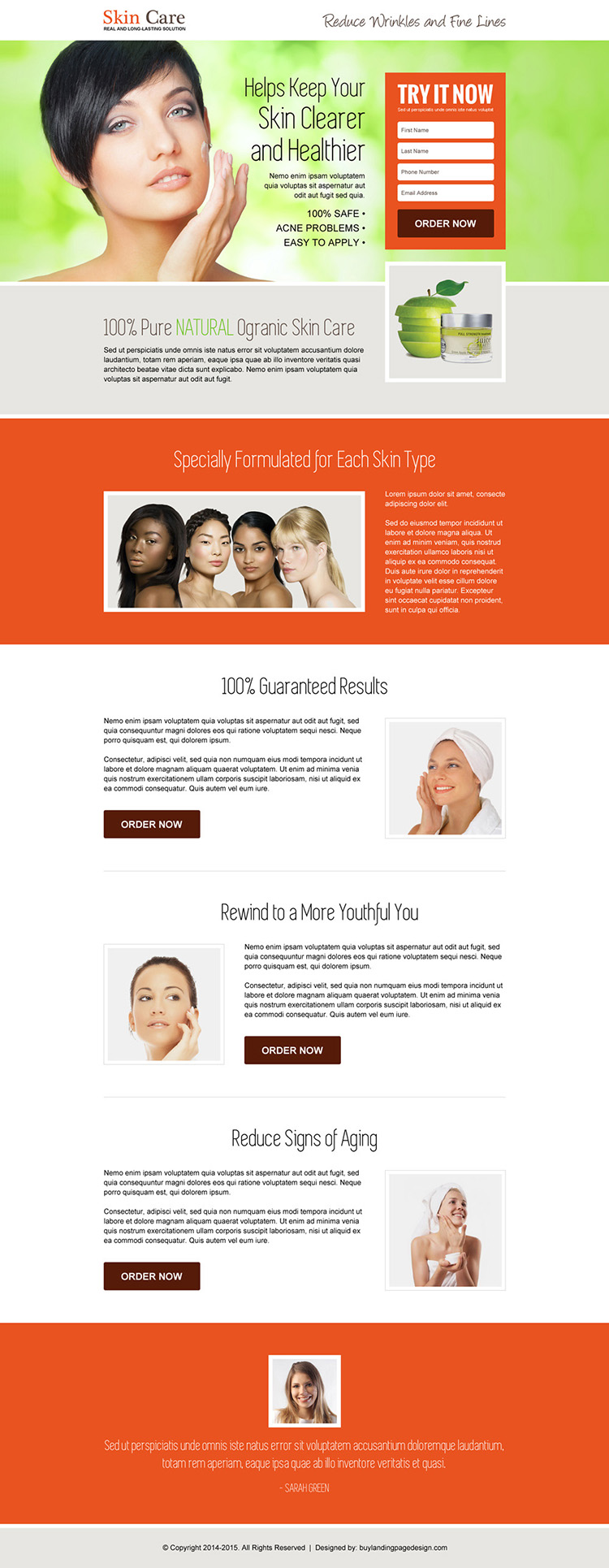 responsive youthful glowing skin care landing page design