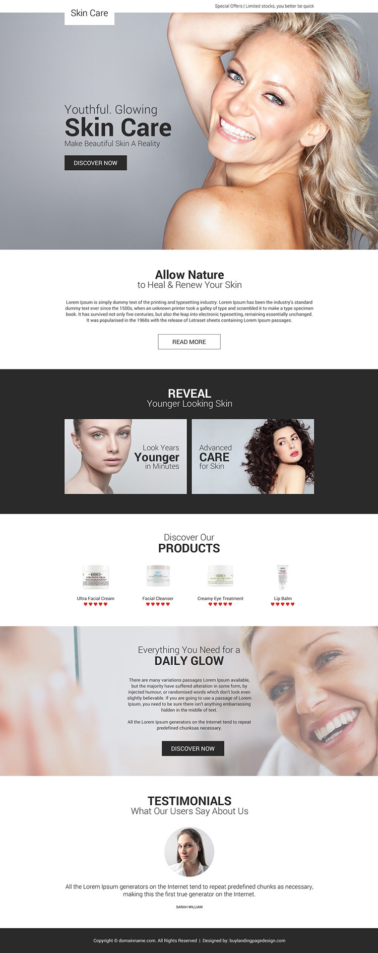 youthful glowing skin care responsive landing page design