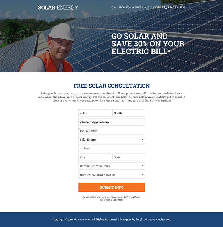 solar energy free consultation service landing page