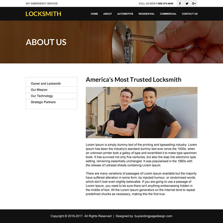 best locksmith service html website design template
