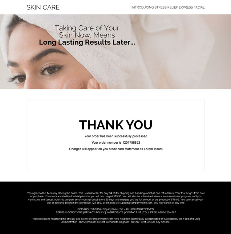 skin care product trial offering bank page design