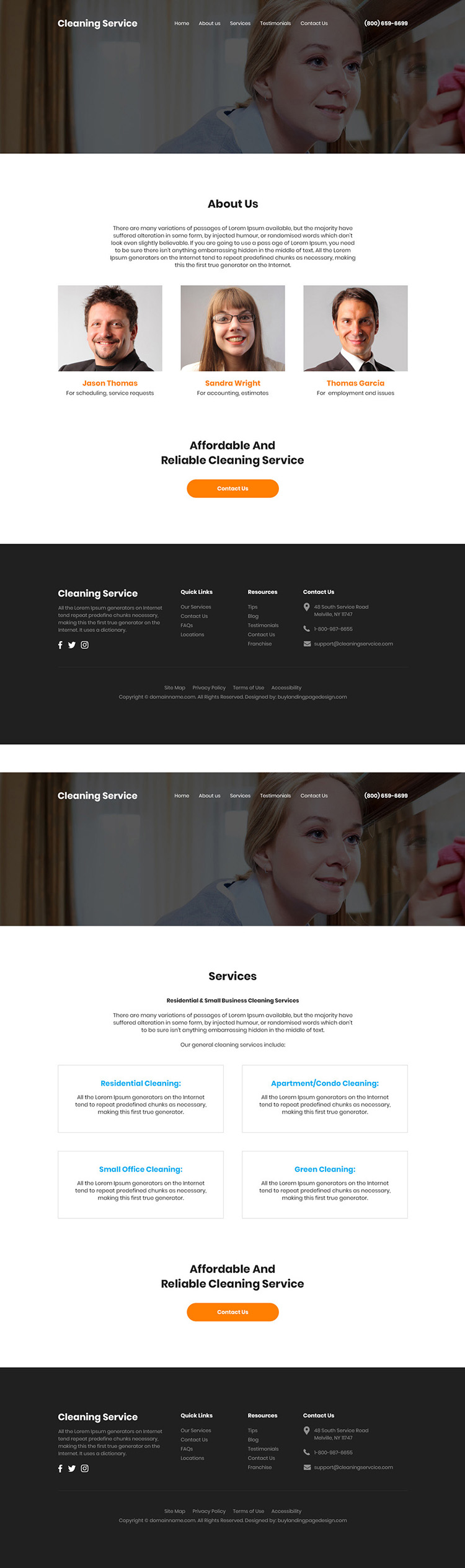 residential and commercial cleaning service company website design