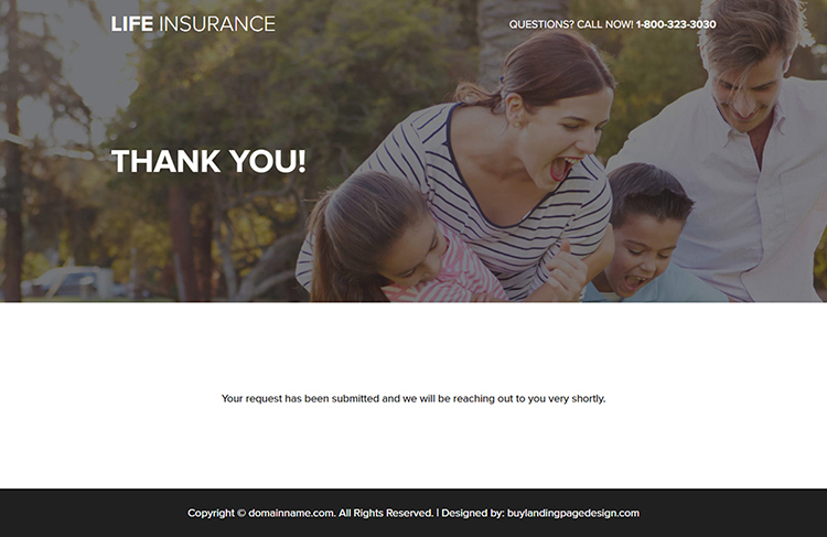 responsive life insurance quote mini landing page design