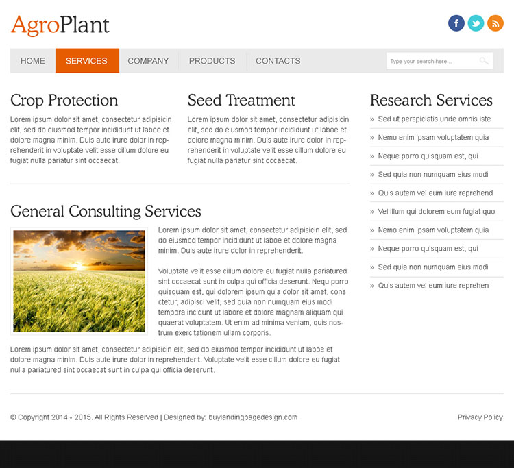 agro plant clean and minimal looking html website template design