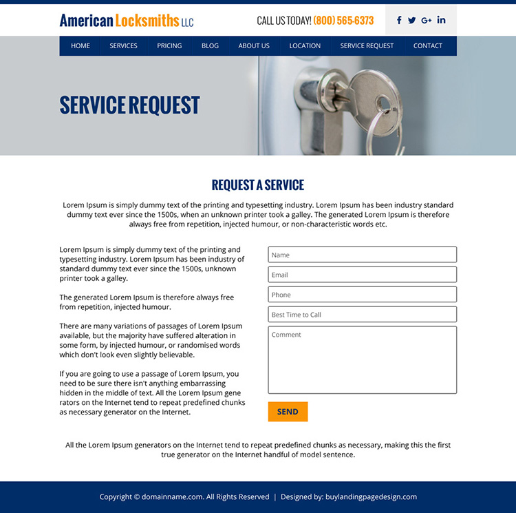 american locksmith service responsive website design