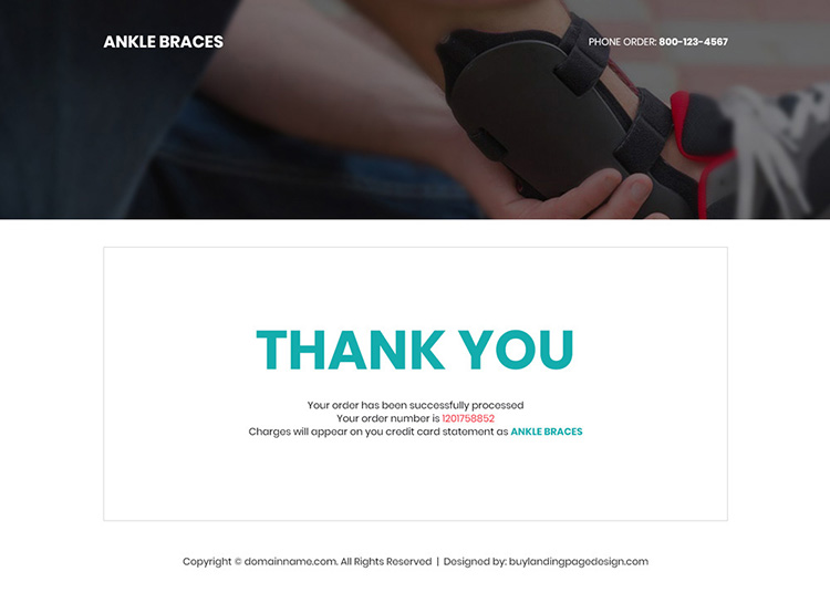 ankle brace product responsive landing page design