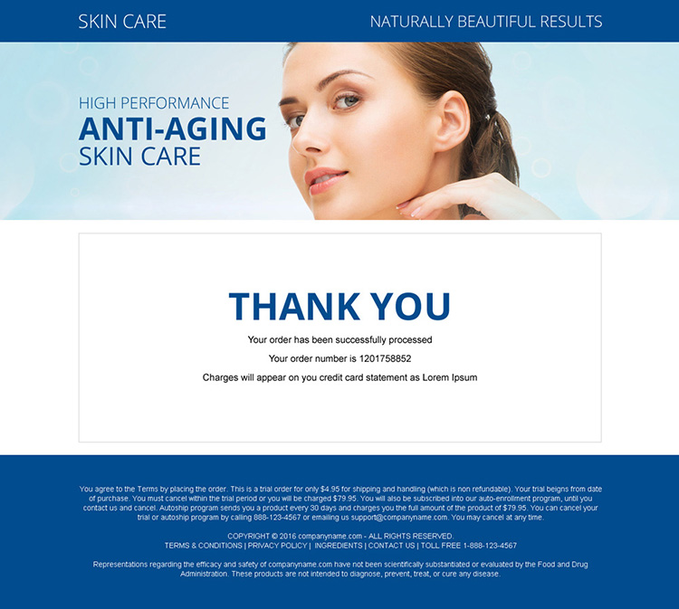anti aging skin care bank page design