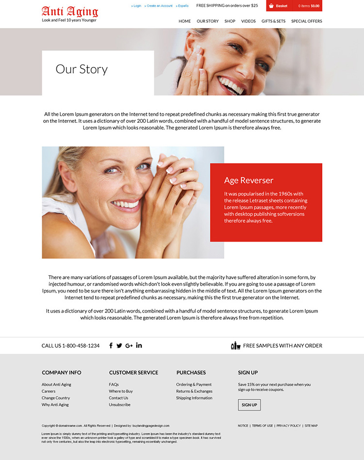 anti aging skin care clean and minimal website design