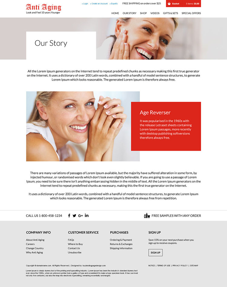 anti ageing products selling responsive website design