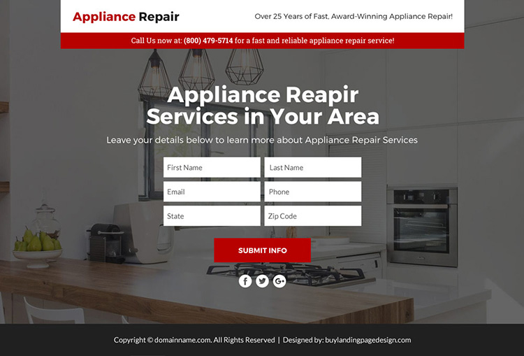 appliance repair service responsive sales funnel page design