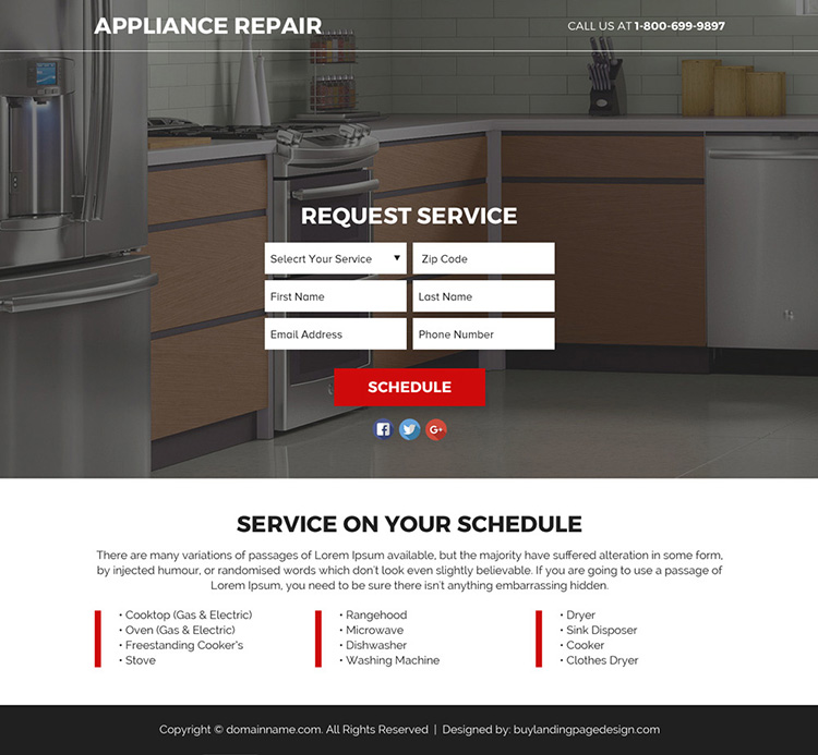 appliance repair service responsive funnel landing page