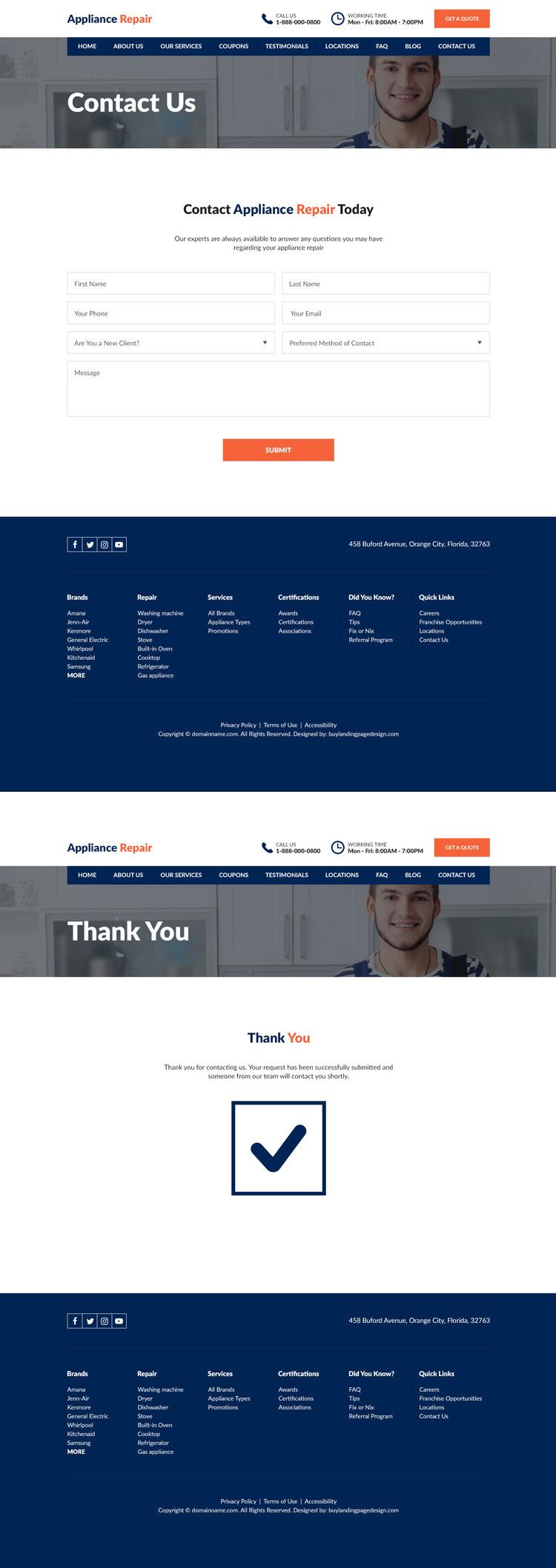 appliance repair service experts responsive website design