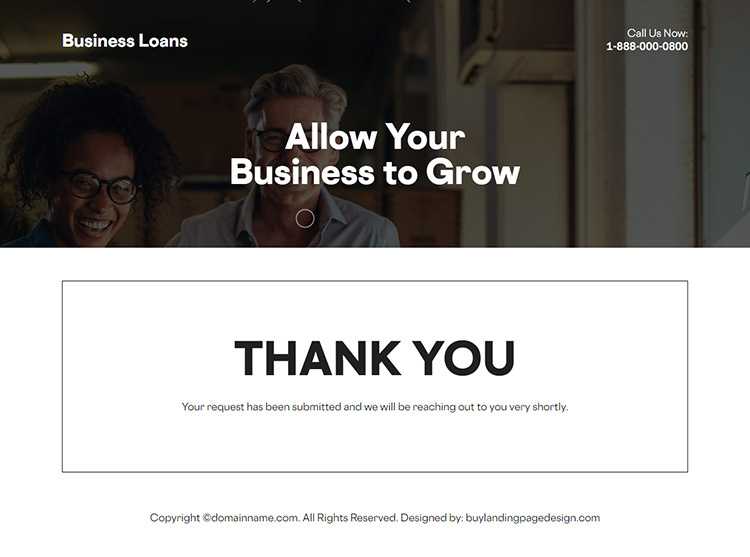 business funding responsive landing page design