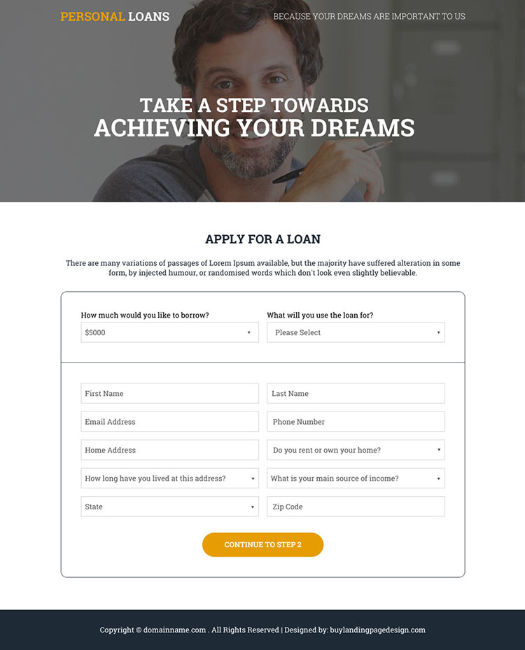 apply for a personal loan responsive landing page