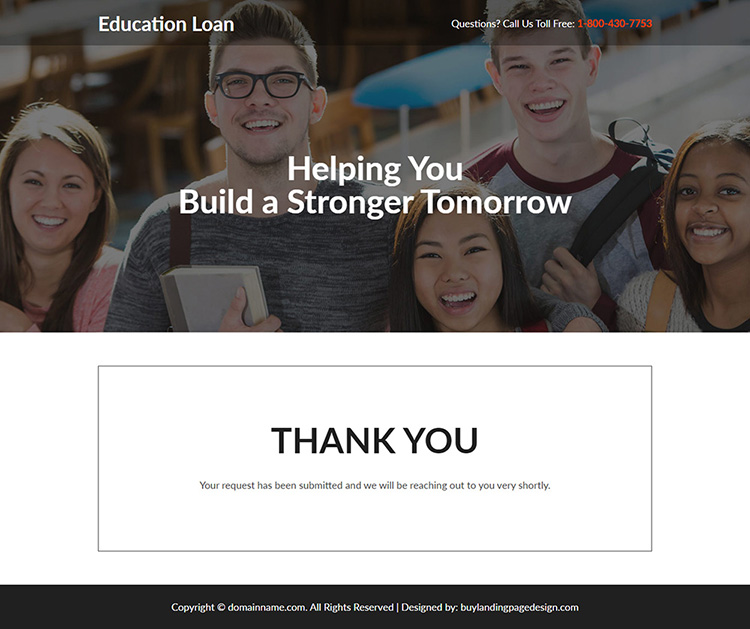 student loan online application responsive landing page design