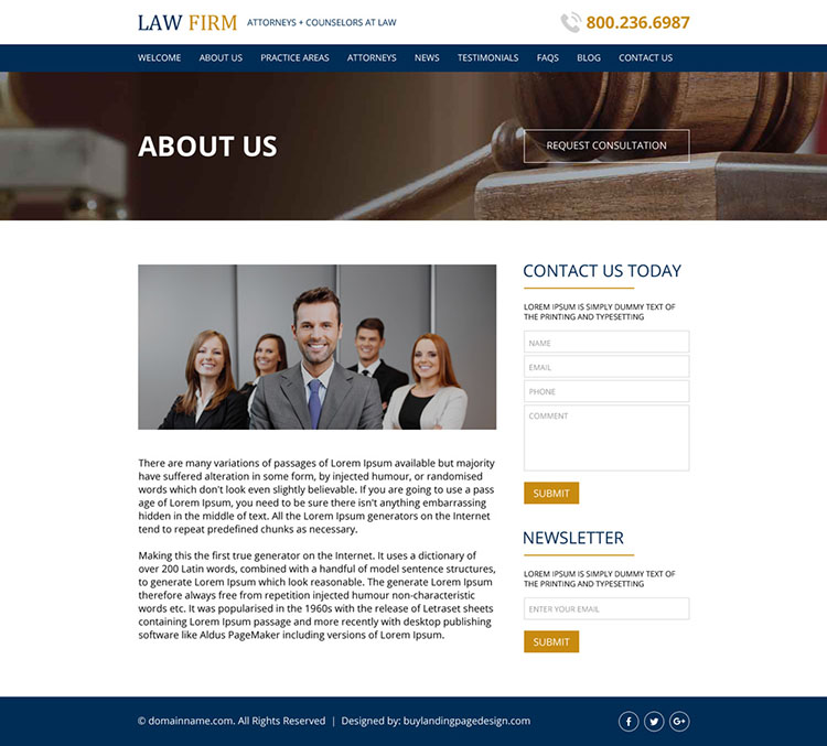 law firm free consultation responsive website design