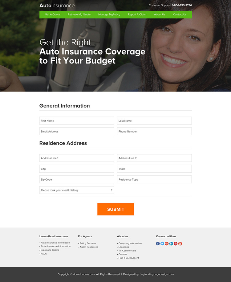 responsive auto insurance professional website design
