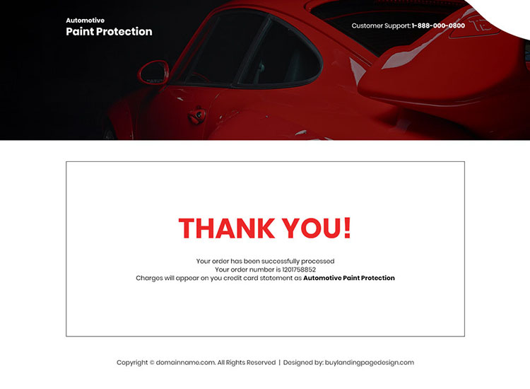 automotive paint protection product selling landing page