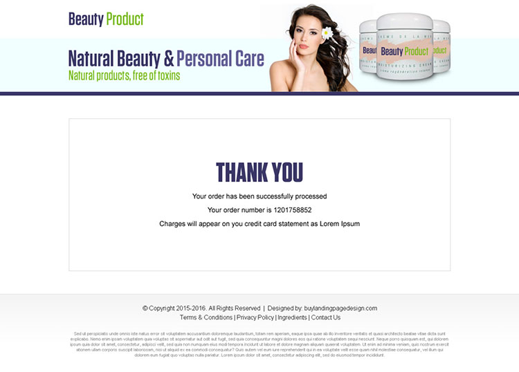 responsive beauty product bank page design