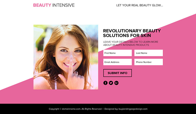 beauty solutions lead funnel responsive landing page design