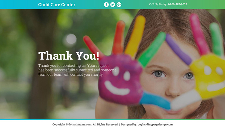 best child care center lead funnel responsive landing page