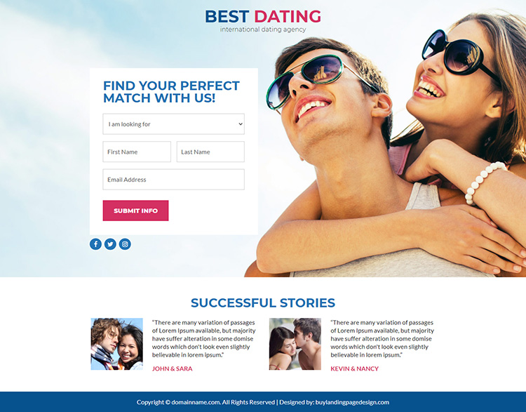 best dating agency lead funnel responsive landing page design