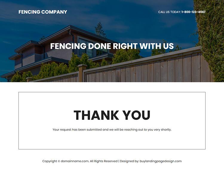 fencing company responsive landing page design
