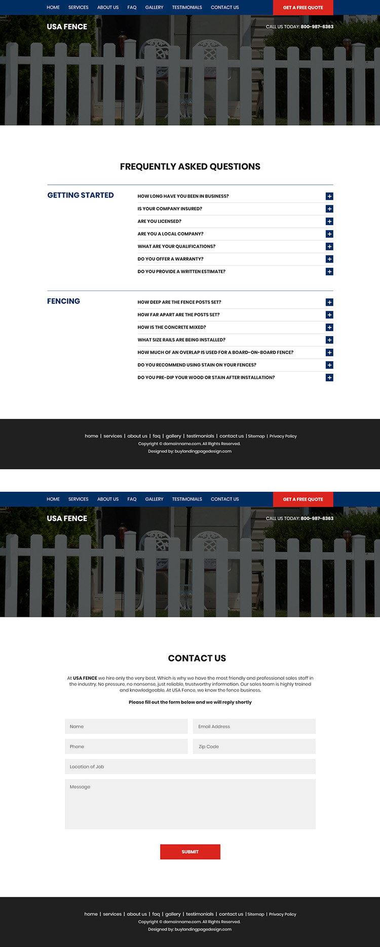 best fencing services bootstrap website design