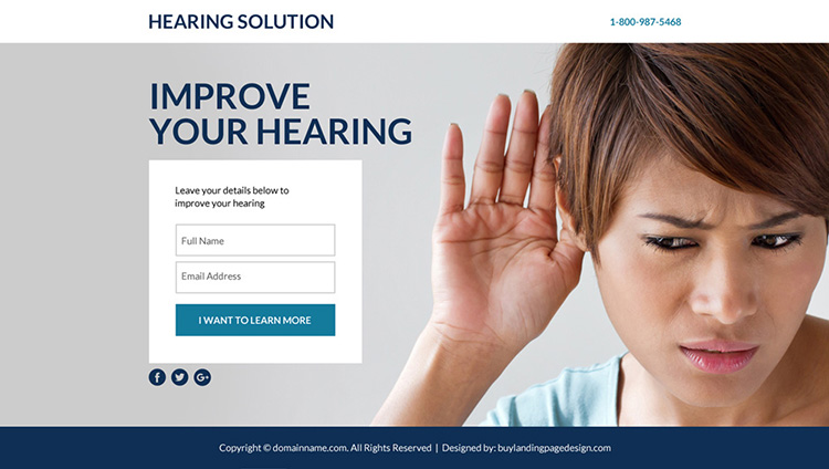 best hearing solutions lead funnel responsive landing page design