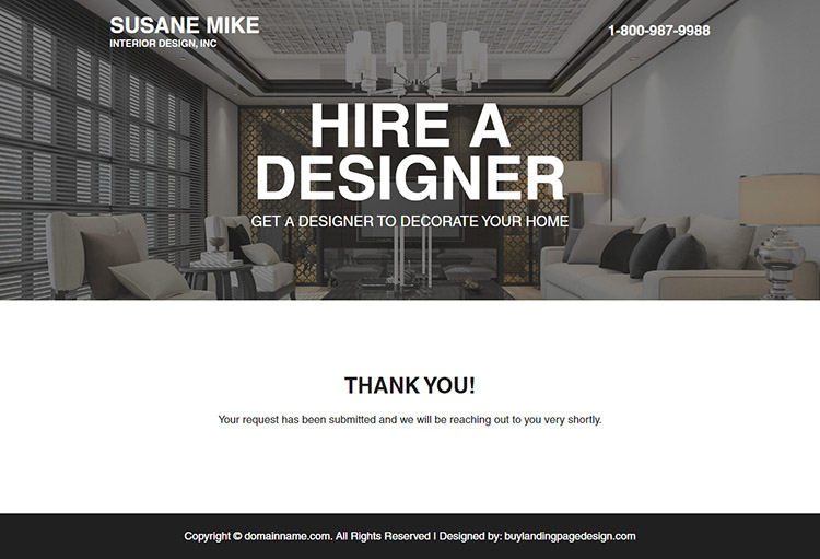 hire best interior designer for your house minimal landing page