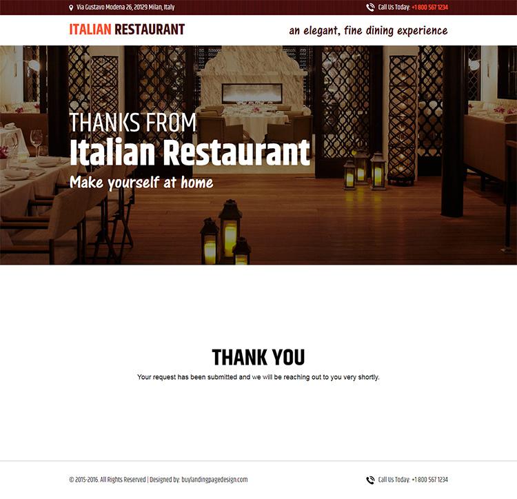 italian restaurant responsive lead capture landing page