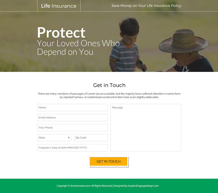 best life insurance policy responsive landing page design
