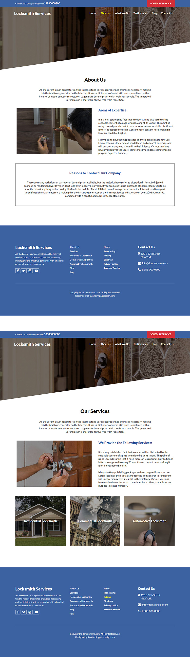 emergency locksmith service responsive website design