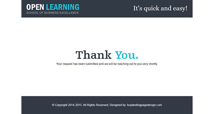 education responsive lead gen landing page design