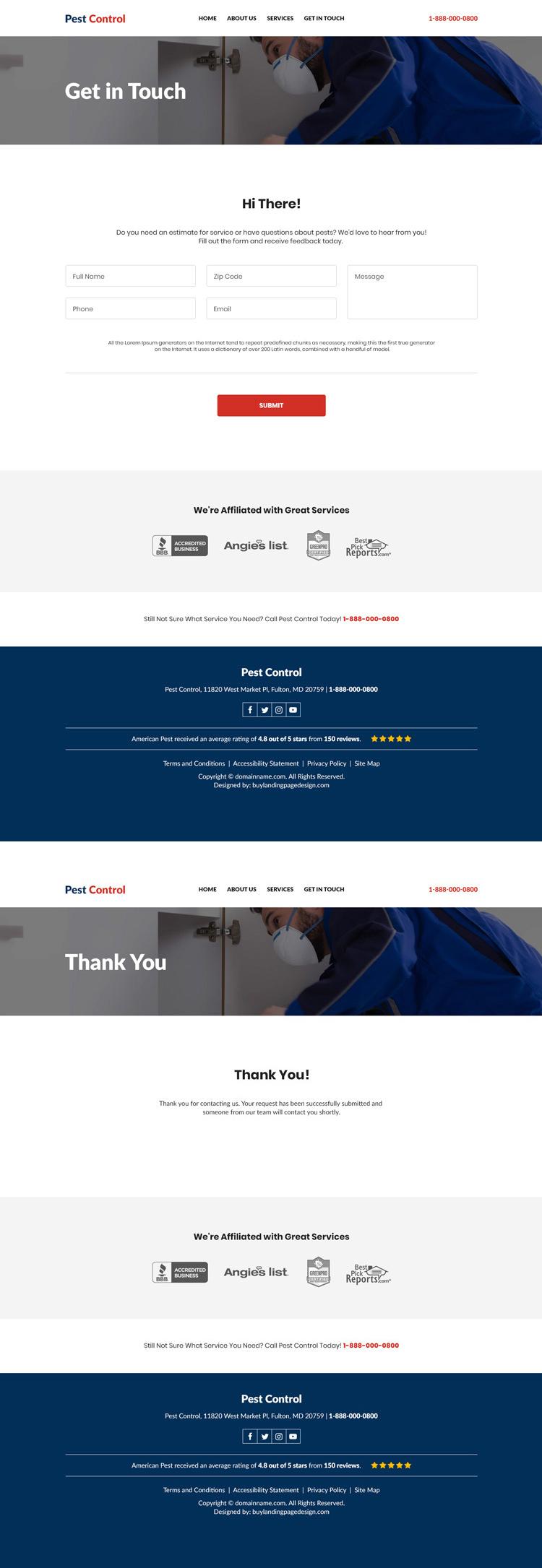 reliable pest control service responsive website design