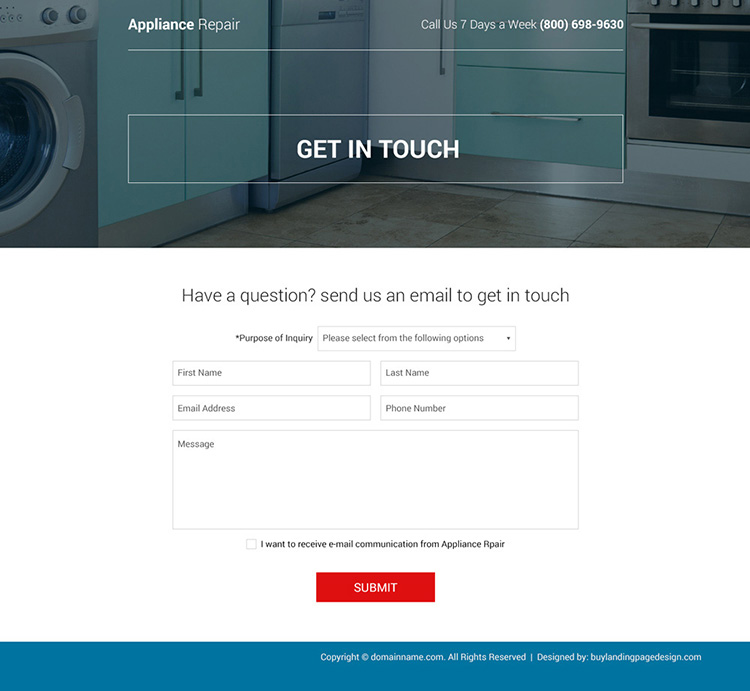 commercial and residential appliance repair bootstrap landing page