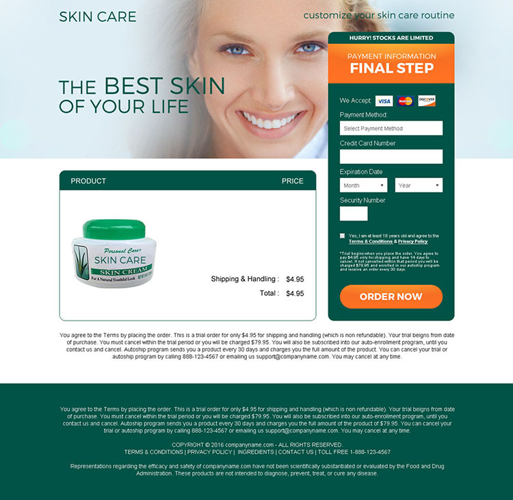 eye catching skin care cream selling bank page design
